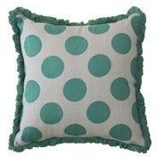 Image of Turquoise Gone Dotty Linen Cushion Cover