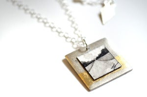 "Image of ""Silver, Square, + Gilded"" Fine Art Collage Necklace"