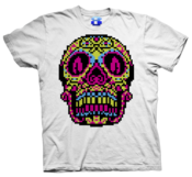 Image of 8 Bit Apparel Sugar Skull tee in white