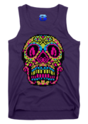Image of 8 Bit Apparel Sugar Skull unisex tank in purple