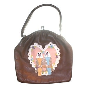 Image of Customised Vintage Brown Budgie Love Handbag