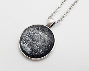 Image of Hand Painted Necklace - - Galatic Girl in Antiqued Silver