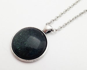 Image of Hand Painted Necklace - - Supernova in Antiqued Silver