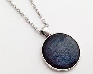 Image of  Hand Painted Necklace - - So Cosmic in Antiqued Silver