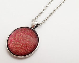 Image of Hand Painted Necklace - - Red Crush in Antiqued Silver