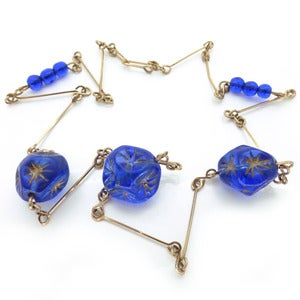 Image of Vintage Art Deco Bohemian Gold Star Bristol Blue Moulded Glass Bead Necklace