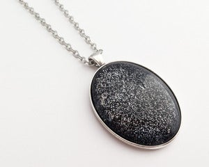 Image of Hand Painted Necklace - - Dark Energy in Antiqued Silver