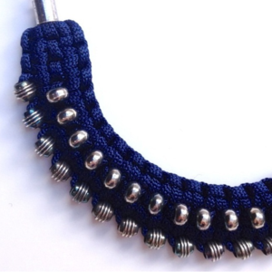 Image of macramé cresent necklace- navy