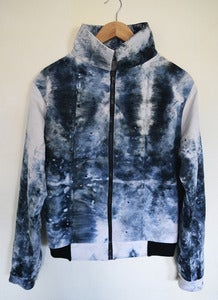 Image of Marble Dye Zipper Jacket with Ribbed Waistband