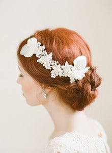 Image of Handbeaded Ivory Floral Lace Bridal Comb by Fine &amp; Fleurie