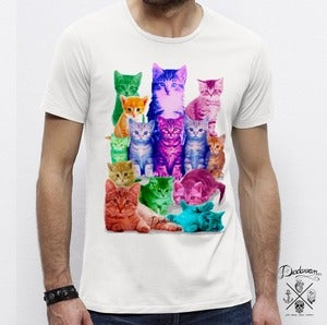 Image of T-shirt homme blanc Pussycats colors