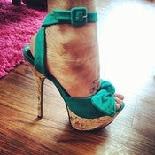 Image of Jade and Gold Bow Heels 