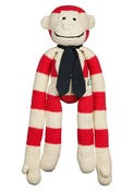 Image of Large Crochet Red stripe monkey