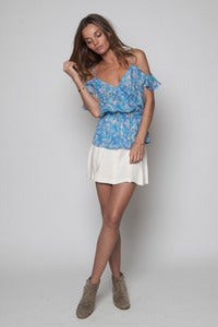 Image of Blue Splash Peplum Off Shoulder Top