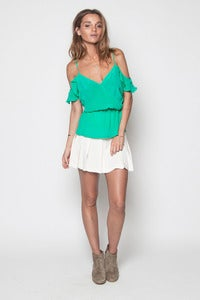 Image of Grass Peplum Off Shoulder Top