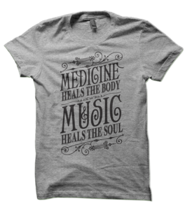Image of Music Heals Tee - Heather (Black Ink)