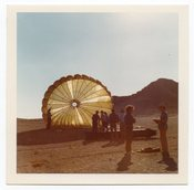 Image of PARACHUTE LANDING VINTAGE COLOR SNAPSHOT PHOTO