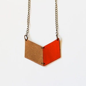 Image of Leather Archery Chevron Necklace in Orange and Natural