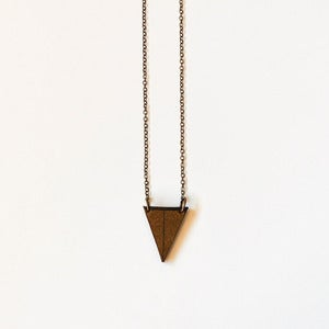 Image of Duplexed Leather Triangle Necklace // Small