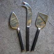Image of set of 3 bark-handled cheese knives