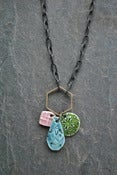 Image of triple charm necklace - pink, speck blue, bamboo