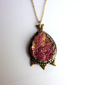 Image of Cranberry Drusy Pendant