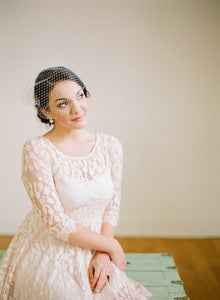 Image of Asymmetrical Birdcage Veil with Swarovski Pearl Edge by Fine &amp; Fleurie
