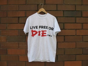 "Image of ""Live Free or Die"" T-Shirt (Ash Grey/Black/Red)"