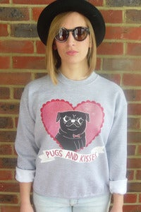 Image of Pugs n Kisses Sweat by Gemma Correll (Grey)