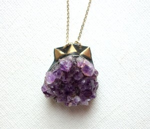 Image of Amethyst Geode Necklace with Triangles