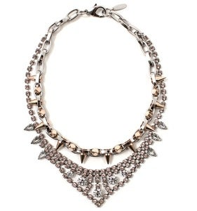 Image of Metal-Luxe Crystal & Spike Necklace - Vintage Rose Crystal/Rhodium/Rose Gold Spikes