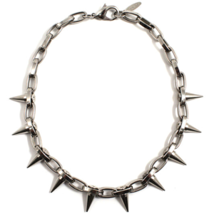 Image of Metal-Luxe Single Row Spike Choker - Rhodium/Silver Spikes