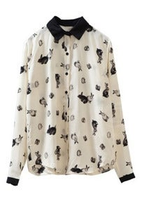 Image of Illustrated Bunny Rabbit Printed Blouse
