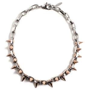 Image of Metal-Luxe Double Row Spike Choker - Rhodium/Rose Gold Spikes