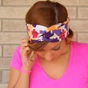 Image of the turband- purple floral linen headwrap