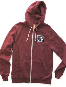 Image of ROCKY MOUNTAIN ZIP HOODED SWEATSHIRT | ECO BURGUNDY