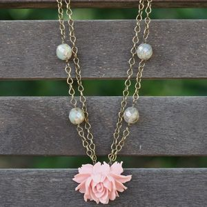 Image of NEW Light Rose Ruffled Rose & Cashmere Beads, Vintage-style Flower Necklace