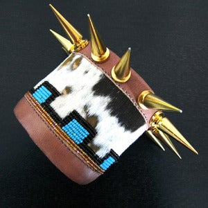 Image of Leather and Spikes Cuff