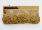 Image of tough ruffles double zip clutch in vintage lace + beige