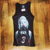 Image of Womens #1 Wade Fan Miami Heat Babydoll Tank Top in Black