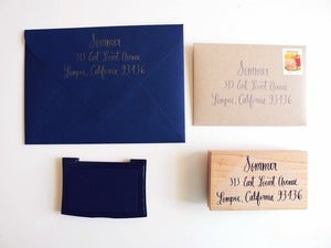 Image of Extra Large Custom calligraphy return address stamp
