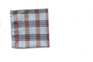 Image of Light Blue Plaid Pocket Square