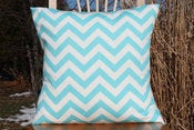 Image of Twirly Turquoise Blue Decorative Pillows Chevron For the Nursery