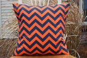Image of Orange and Navy Decorative Pillows Chevron For the Nursery