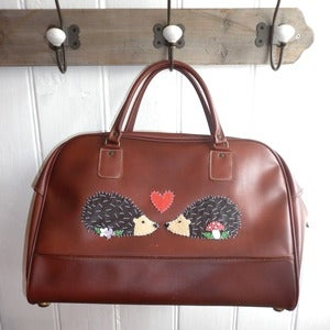 Image of ONE OFF! Vintage Mr & Mrs Hedgehog Holdall