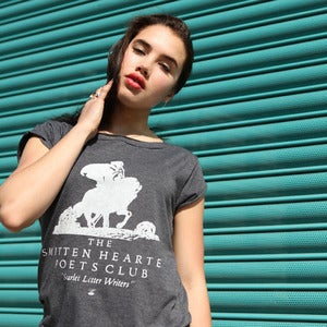 Image of SMITTEN HEARTED POETS CLUB charcoal raw t-shirt