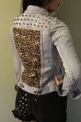 Image of Studded Cheetah Denim Jacket