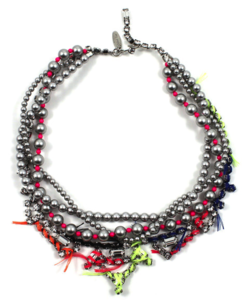 Image of Tribe Festival Crystal &amp; Pearl Necklace w/Thread Details - Lt. Grey/Neon Pink