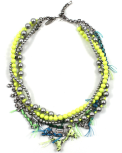 Image of Tribe Festival Crystal &amp; Pearl Necklace w/Thread Details - Lt. Grey/Neon Yellow