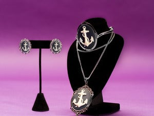 Image of Anchor Cameo Necklace Earrings Bracelet Set